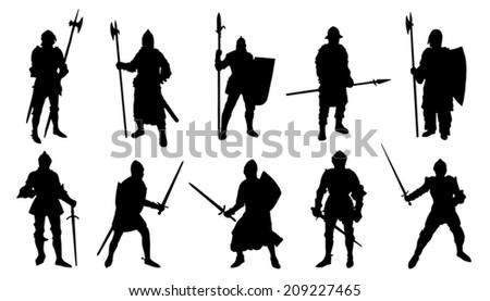 knight silhouettes on the white background - stock vector