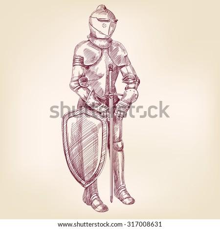 knight vintage hand drawn vector llustration realistic sketch - stock vector
