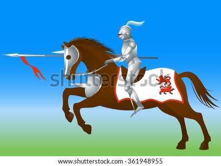 Knight with a spear on horse      - stock vector