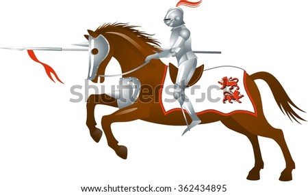 Knight with a spear on horse. White background   - stock vector