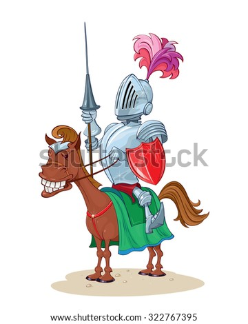 Knight with a spear on horseback - stock vector