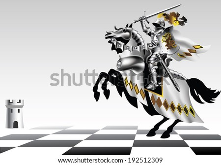 Knight with a sword in white on a chessboard on a white background - stock vector