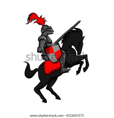 Knight with armed horse  - stock vector