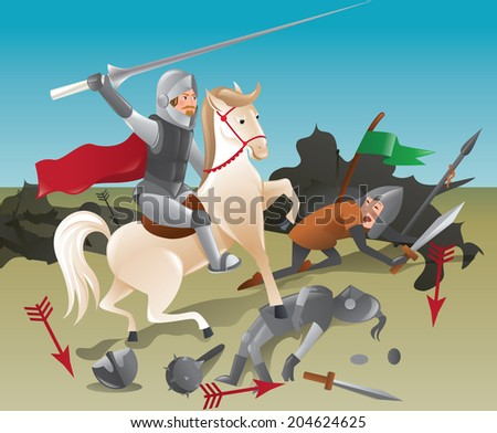 Knight with lance on horseback - color illustration - stock vector
