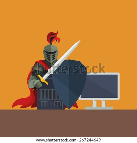 Knight with Shield Protecting Computer on Orange Background, Vector - stock vector