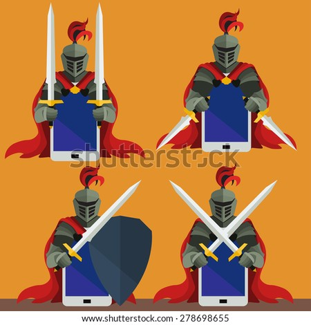 Knight with Swords, Daggers and Shield Protecting Smartphone. Flat Vector Clip-art. Different Configuration Set - stock vector
