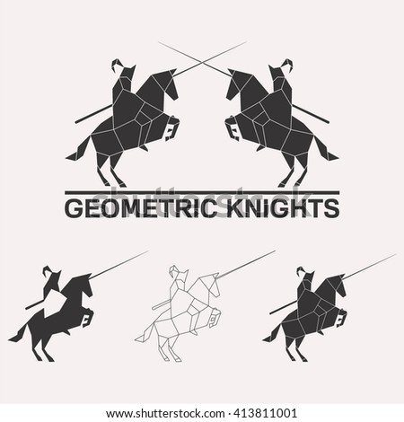 Knights logo set. Knights jousting geometric lines silhouette isolated on white background vintage vector design element illustration set - stock vector