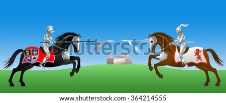 Knights with the spears on their horses - stock vector