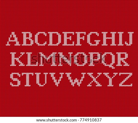 Knit Font Christmas Knitted Latin Alphabet Stock Vector Hd Royalty