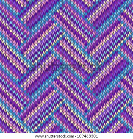 Knit woolen seamless jacquard ornament texture. Fabric color tracery background - stock vector
