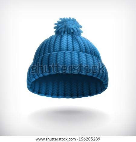 Knitted blue cap, vector illustration - stock vector