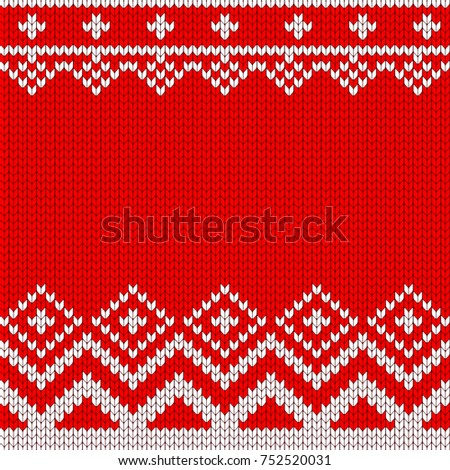 Knitted Christmas Knitted Vector Pattern Decoration Stock Photo