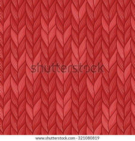 Knitted christmas red seamless pattern. Natural warm knitted fabric. Vector, Eps, added to swatch palette.  - stock vector