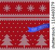Knitted Christmas seamless background, white on red. - stock photo