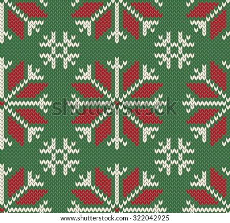 Knitted Christmas seamless pattern. Northern  style. Vector illustration. - stock vector