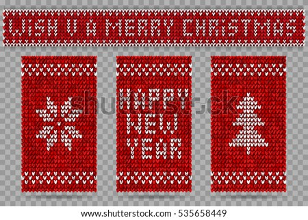 Knitted happy new year greeting cards, vector illustration