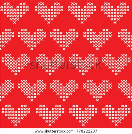 Knitted Hearts Pattern Vector Seamless Pattern Stock Vector