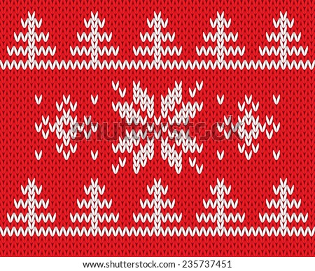 Knitted holiday pattern with snowflake and tree. Vector illustration. - stock vector