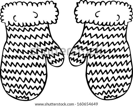 Knitted mittens. Hand drawn illustration.  - stock vector