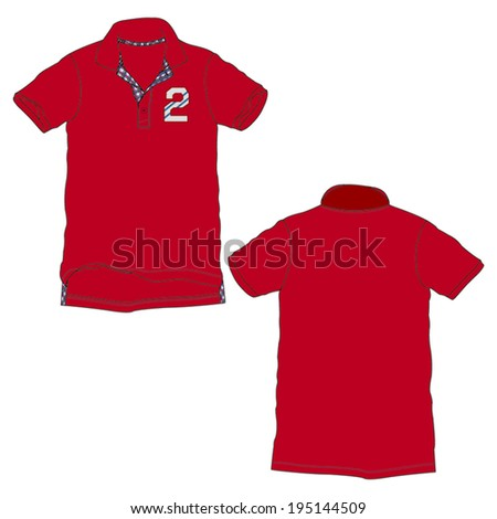 Knitted polo-neck t shirt design. - stock vector