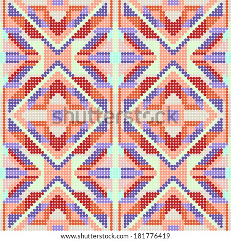 Knitted Seamless Fabric Pattern, Beautiful Blue Red Pink Knit Texture