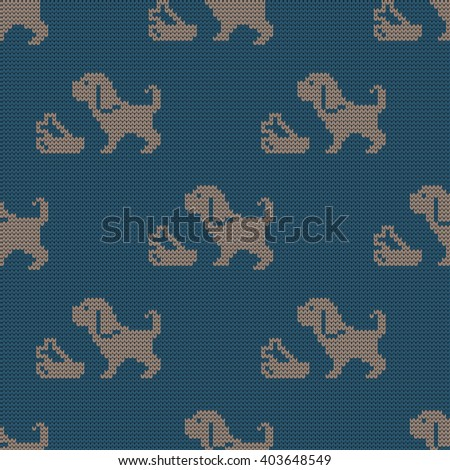Knitted seamless pattern  dogs