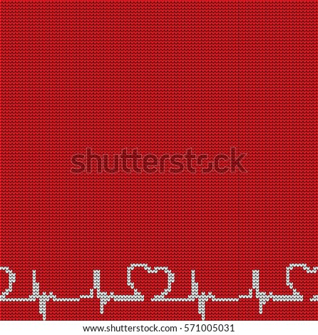Knitted seamless pattern hearts on Valentine