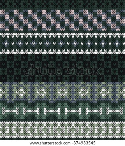 Knitted seamless pattern in fire isle style