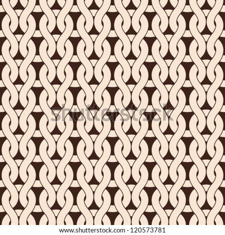 Knitted seamless pattern in natural color, vector texture - stock vector