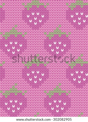 knitted seamless pattern strawberries - stock vector