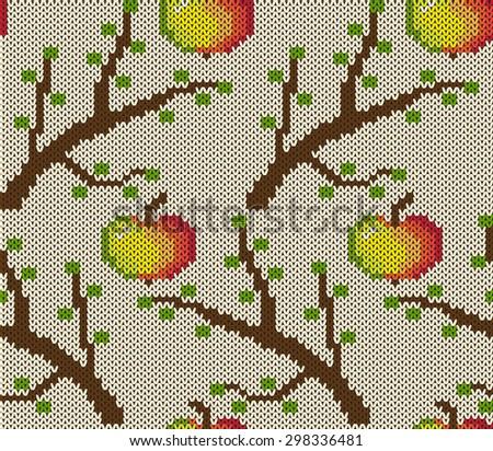 Knitted seamless pattern. Vector illustration - stock vector