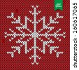 knitted snow flake retro vintage christmas background - stock