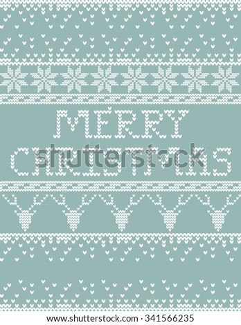 Knitted Sweater Merry Christmas card template - stock vector