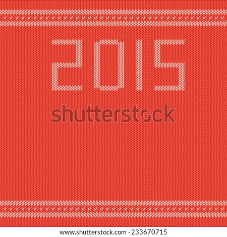 knitted sweater with a retro drawing and a blank space for congratulations in 2015 - stock vector