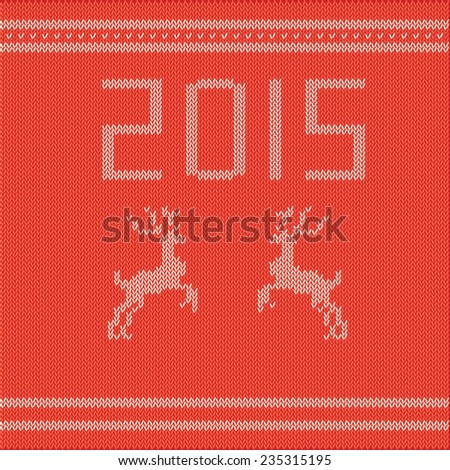 knitted sweater with a retro drawing of Christmas deer - stock vector