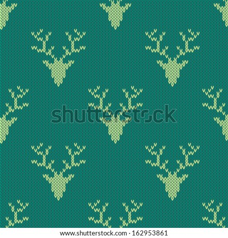 Knitted sweater with deer seamless pattern. Can be used for wallpaper, pattern fills, web page background,surface textures - stock vector