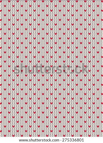 Knitted vector background pattern with wool sweater texture. Retro textile winter fabric fashion design ornament. Retro decoration illustration. Beige, red, white colors. - stock vector
