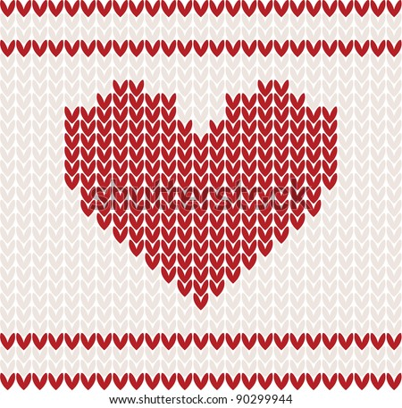 Knitted vector pattern with red heart. Christmas concept for banner, placard, billboard or web site. New Year retro greeting card and background. Image for invitation - stock vector