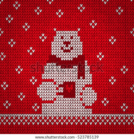 Knitted white bear warm vector illustration