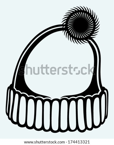 Knitted winter cap isolated on blue background - stock vector
