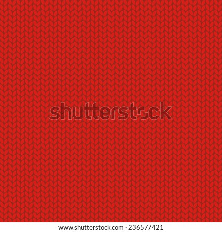 Knitted wool red background, vector illustration - stock vector