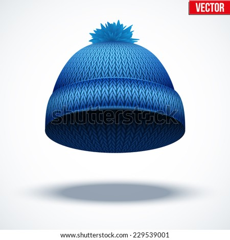Knitted woolen cap. Winter seasonal blue hat. Vector illustration isolated on white background. - stock vector