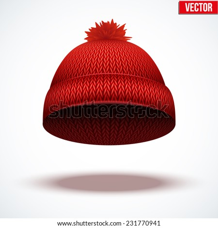 Knitted woolen cap. Winter seasonal red hat. Vector illustration isolated on white background. - stock vector