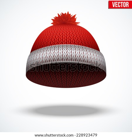 Knitted woolen red cap. Winter seasonal blue hat. Vector illustration isolated on white background. - stock vector