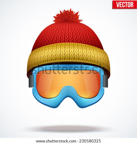 snowboard goggles isgh  Knitted woolen red cap with snow goggles Winter seasonal sport hat Vector  illustration isolated
