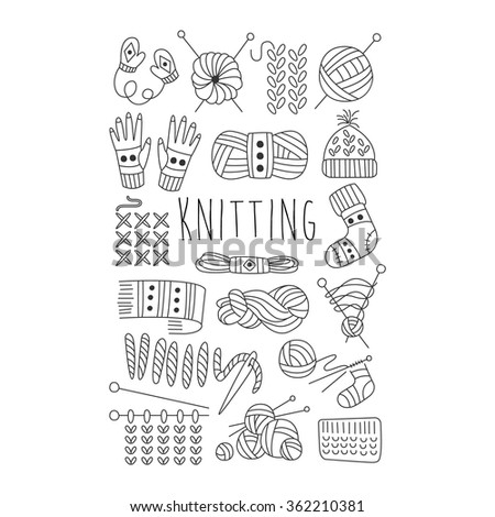Knitting. Black and White Vector Handdrawn Collection.