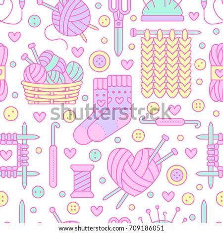 Knitting Crochet Seamless Pattern Cute Vector Stock Vector 709186051
