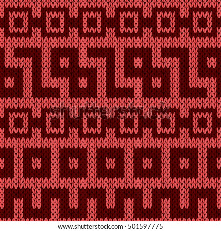Knitting geometrical seamless vector pattern in red hues as a knitted fabric texture