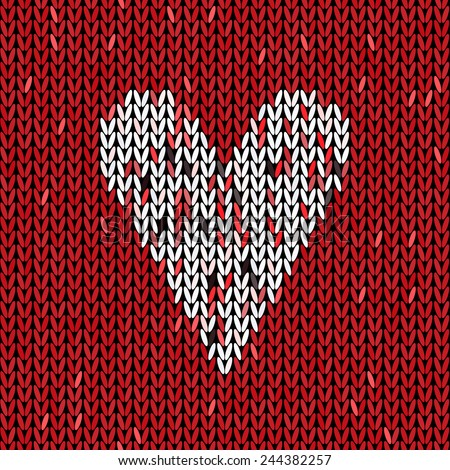 Knitting Pattern Heart Knit Texture Love Stock Vector 244382257
