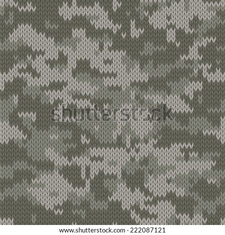 Knitting seamless texture with Digital camouflage pattern - stock vector